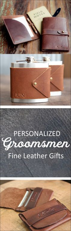 Give your groomsmen a personalized fine leather groomsmen gift from Holtz Leather Co. These unique gifts are practical and uber manly. Your sure to find a gift they'll love an actually use.