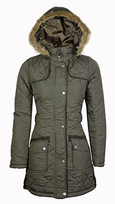 f3b87b89f89 Samantha s Ladies Military Quilted Fur Hooded Padded Womens Parka Jacket  Coat Size 8-16  Amazon.co.uk  Clothing. SamanthafashionZ · Winter Jackets