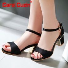 La correa del tobillo mujeres marca sandalias de tacón alto dulces para mujer de moda square tacón sandalia calzado sandalia de los altos talones tamaño 32-43 PE00050(China (Mainland))