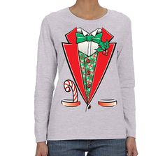 8aa6770c7 XtraFly Apparel Women's Tuxedo Shirt Bowtie Ugly Christmas Long Sleeve T- Shirt