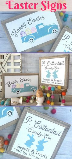 Two of my favorite things...vintage trucks and P. Cottontail.  Love these signs for Easter.  Wood Signs. Handmade decor. Easter Decor. Spring decor. #ad #woodsigns #homedecor #easter #spring #vintagetruck #etsy