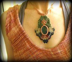 癒しの天然石ブラッドストーンの手編みネックレス*パワーストーン天然石マクラメ - Tuwa Earth Crafts