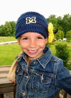 Handmade University of Michigan Newsboy Crochet Beanie-Child-U of M