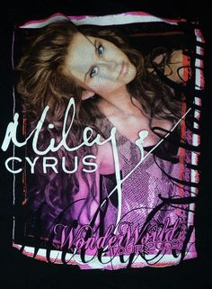 Licensed Miley Cyrus 2009 Wonder World Tour Shirt Size Small Vintage Rock Tees, Miley Cyrus, Around The Worlds, Neon Signs, Tours
