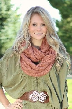 Dusty Rose Cable Knit Infinity Scarf #nanamacs.com #nanamacs_boutique