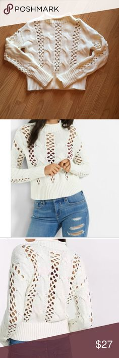 Express Crochet Mock Neck Cable knit Sweater Perfect for spring and summer! Pair with your favorite pair of denim or with shorts! Also cute to wear out to the beach over your swim suit!   This is a cropped sweater. Size Small. This is an off white color. Express Sweaters