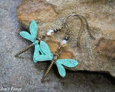 Handmade Earrings Dragonflies Brass by JensFancy on Etsy, $24.00