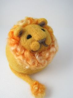 Golden Lion Needle Felted Wool Sculpture by PeakVintage on Etsy, $26.00
