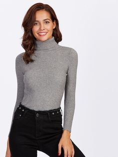 Shop Rolled Neck Ribbed Knit Fitted Sweater online. SheIn offers Rolled  Neck Ribbed Knit Fitted · Sweater OutfitsCardigan Sweaters For WomenDress  ... 69bf44a89