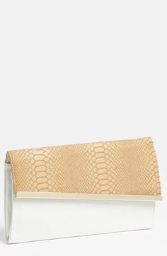 Expressions NYC Snake Embossed Faux Leather Clutch | Nordstrom