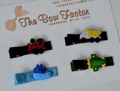 SET OF FOUR Boy Yarmulke Kippah or Hair Alligator Clip - Transportation Theme - Train Boat Truck Plane
