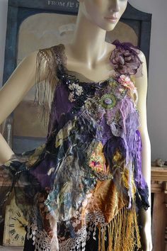 Unique Art To Wear Violet/Gold/Yellow Top With Black by Paulina722