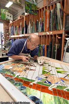 """Aanraku, stained glass studio in San Mateo. Profiled is """"Grandpa,'' Yoshinori Yakao a 79-year-old Japanese cook and swordsman,who started taking classes three years ago and now has a national reputation. CHRONICLE PHOTO BY PENNI GLADSTONE Photo: Penni Gladstone"""