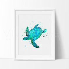 Turquoise Sea Turtle Watercolor Nature Art Print Wall Decor: