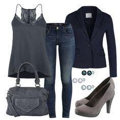 Ein schickes Damenoutfit für deinen Freitagabend. Das Spitzentop und die Jeans harmonieren schön zu den Pumps und der Handtasche. Die Ohrringe aus Perlen vollenden das Abendoutfit.