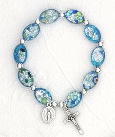 Regina's Catholic Gifts - Murano glass Rosary bracelet/ light blue, $16.75 (http://www.reginascatholicgifts.com/murano-glass-rosary-bracelet-light-blue/)