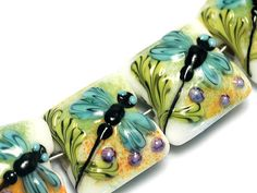Glass Lampwork Bead Set - Seven Blue Dragonfly Pillow Beads 10504604 on Etsy, $55.00