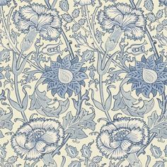 'Pink & Rose' wallpaper by William Morris in 'Indigo' colorway (blue on cream background)