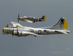 FlightAware ✈ Photo of Boeing B-17 Flying Fortress and P-51D Mustang