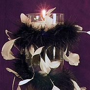 Feathered cylinder floating candle centerpiece