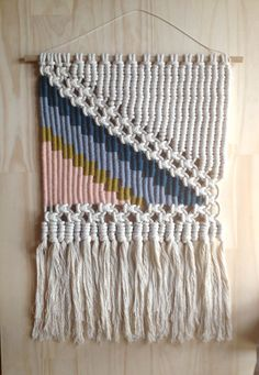 Woven Macrame Wall Hanging Pink Triangle