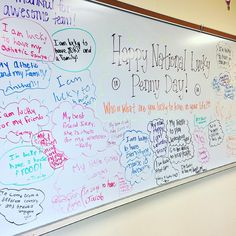Happy National Lucky Penny Day-white board messages (May Classroom Whiteboard, 5th Grade Classroom, Classroom Ideas, Writing Topics, Writing Prompts, Morning Board, 3rd Grade Writing, Morning Activities, Bell Work