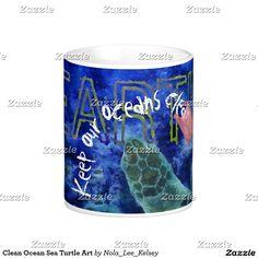 Clean Ocean Sea Turtle Art Coffee Mug