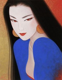🔆🔆🔆by: Ichiro Tsurato🔆🔆🔆 Japanese visual artist, was born in 1954 in the city of Hondo in Kumamoto Prefecture, Ichiro Tsuruta grew up in Kyushu's Amakusa Region, Japan. Geisha Kunst, Geisha Art, Art And Illustration, Fantasy Kunst, Fantasy Art, Art Asiatique, Art Japonais, Japanese Painting, Japan Art