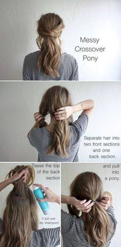 hair tutorial: messy crossover pony