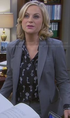 Leslie's key print shirt on Parks and Recreation.  Outfit Details: http://wornontv.net/26160/ #ParksandRecreation