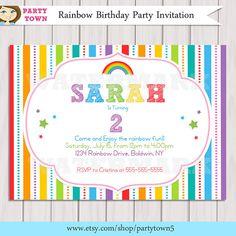 Rainbow Invitation / Rainbow Birthday invitation / por ThePartyTown