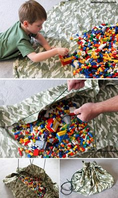 Giant drawstring LEGO mat - a solution for storing LEGO @ Hello Little House. I know I'm gonna need this.
