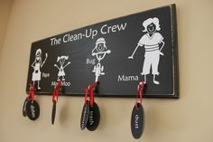 Chore board with hooks (tags sold separately) from The Shop at Back40 (Ready to take chores online? Try FamZoo.com)