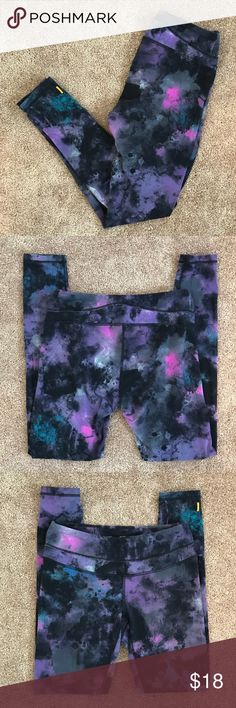 "Lucy Printed Workout Leggings Medium printed leggings from Lucy. Regular length. There's a small key pocket on the front. They show a little wear, but are in good used condition. 87% Nylon 13% Spandex. Inseam: 27."" Offers welcome. No trades. Lucy Pants Leggings"