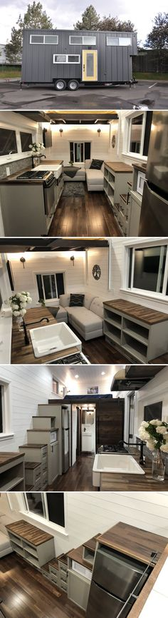 From Denver, Colorado-based Sun Bear Tiny Homes is the White House, a 335-square-foot tiny house on wheels. The home features beautiful Brazilian Pecan hardwood floors and butcher block countertops.