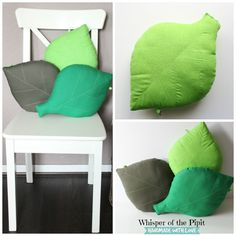 40 x 28cm Leaf cushion. Decorative green leaf pillow by WhisperOfThePipit  20GBP (30.25USD) SHOP: www.whisperofthepipit.etsy.com