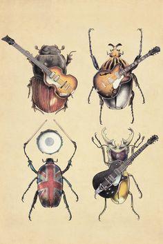 Meet the Beetles II - Canvas Print by Eric Fan