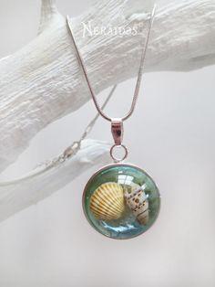 Nautical Necklace Beach Sand Sea Ocean Shell Resin  by Neraidas, $30.00