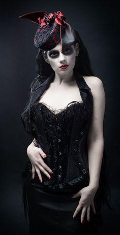Gothic corset Photography: Norbert Pietraszekwww.pietraszek.co.uk Hair and Makeup:Aneta Kucinska  Model: https://www.facebook.com/pages/Sugar-Spice-Modelling/297407080377845  Millinery: Jayne Rossiter-Gillhttp://www.jemillinery.co.uk/https://www.facebook.com/pages/Jayne-Elizabeth-Millinery/130128310332290