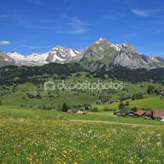 Springtime in the Toggenburg valley — Stock Photo © Perreten Photo Library, Spring Time, Wild Flowers, Landscapes, Stock Photos, Mountains, Illustration, Travel, Image