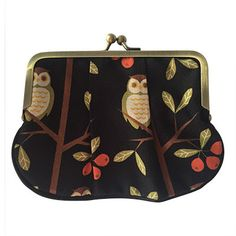 Striking coin purse with an owl pattern. Black piping runs along the bottom of the coin purse for an extra design feature. The inside is fully lined with a patterned fabric to. Owl Patterns, Owls, Wallets, Pony, Coin Purse, Purses, Fabric, Collection, Pony Horse