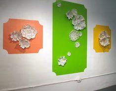 Kristen Wicklund ceramic wall installation: ceramic or crochet?