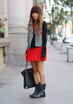 m/c touches: vest & boots with a pleated mini.  very sweet & tough