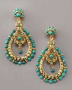 Jose & Maria Barrera  Turquoise Teardrop Earrings