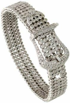 14k White Gold Belt Buckle 7 in. Ladies' Bracelet, w/ 6.00 Carats Brilliant Cut Diamonds, 11/16 in. (18mm) wide Gabriella Gold. $8448.00