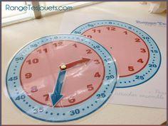 Apprendre à lire l'heure. Pendule d'apprentissage prête à imprimer - Rangetesjouets.com Math Activities For Kids, Kids Learning, Flick Flack, Math Clock, Cult Of Pedagogy, Teachers Aide, 2nd Grade Math, Telling Time, Learn French