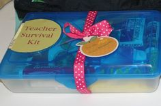 Teacher Survival I like this because it's actually things the teacher can use for themselves and not school supplies. Kits to give at the beginning of the year - Might be one of the best teacher gift ideas Ive seen yet