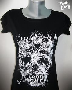 T shirt skull tree white black goth horror art women by TotalLost, $19.00