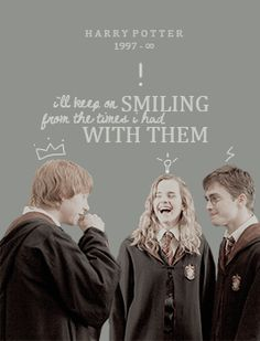 Harry Potter gif - i'll keep on smiling from the times we had with them: and i know it's only a story but for so many it's more than that. it's a world, all on its own where we want to put on that sorting hat.