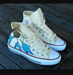 007e7874062 Custom Hand Painted Converse Sneakers - Dream Catcher and Indian Chief with  headdress on Chuck Taylor Hi tops - customizable by BStreetShoes